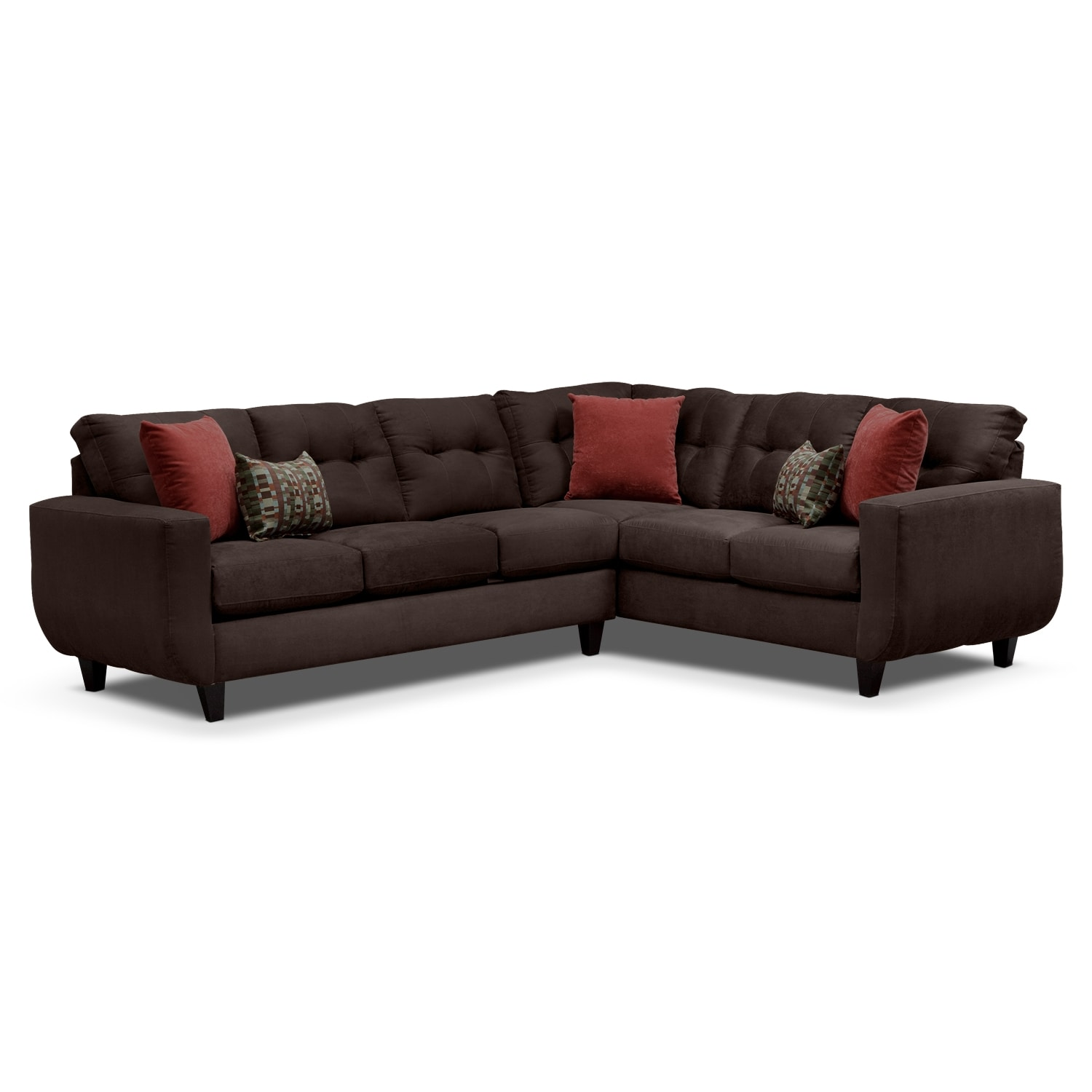 Living Room Furniture - West Village Chocolate II 2 Pc. Sectional
