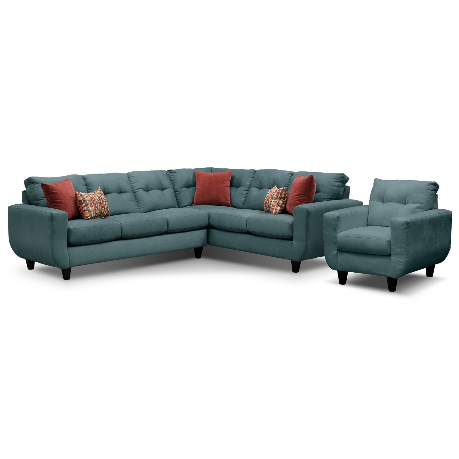 Living Room Furniture - West Village 2-Piece Sectional and Chair Set - Blue