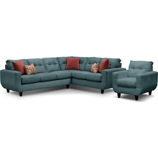 West Village 2-Piece Sectional and Chair Set - Blue