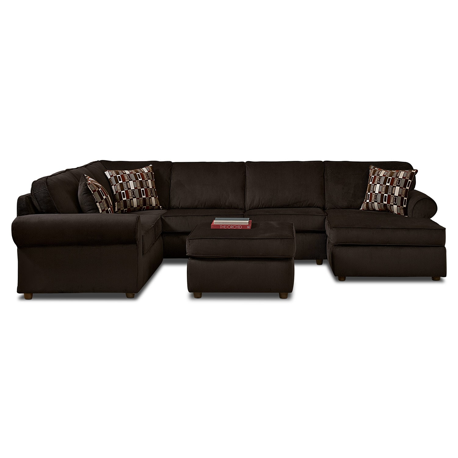 Living Room Furniture - Monarch 3 Pc. Sectional and Cocktail Ottoman