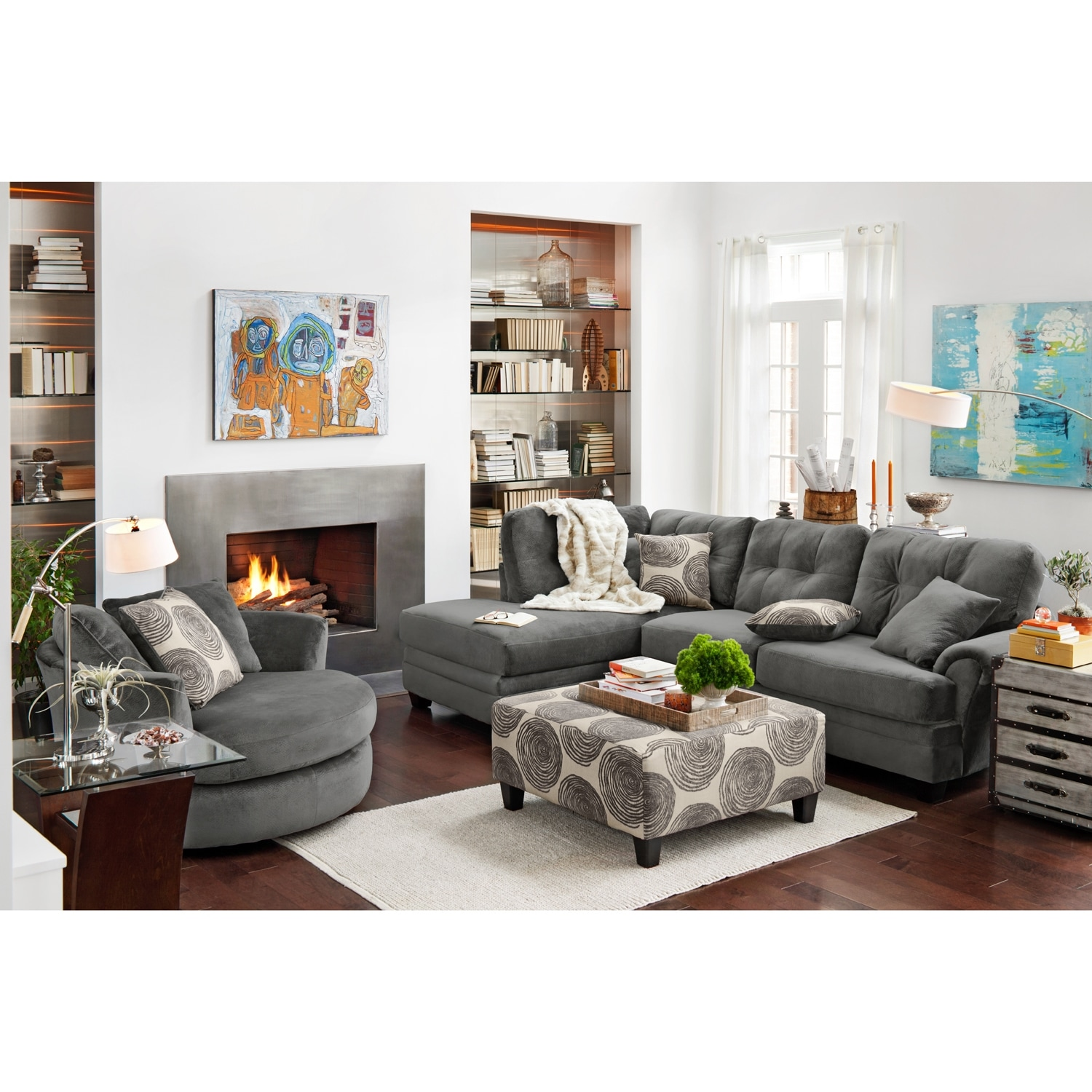 Ii 2 pc sectional and swivel chair american signature furniture - Click To Change Image