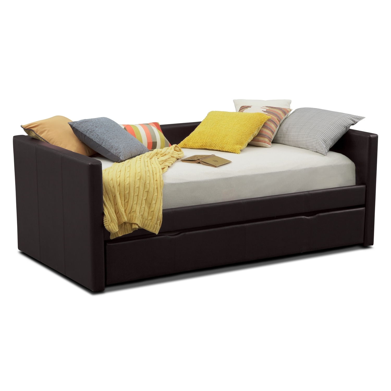 Carey Twin Daybed With Trundle Brown American Signature Furniture