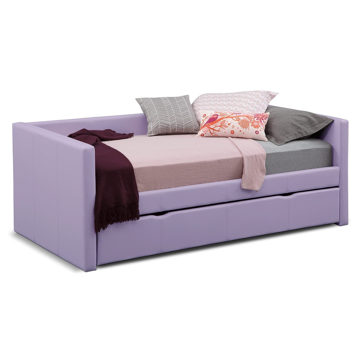 Carey Purple Twin Daybed with Trundle