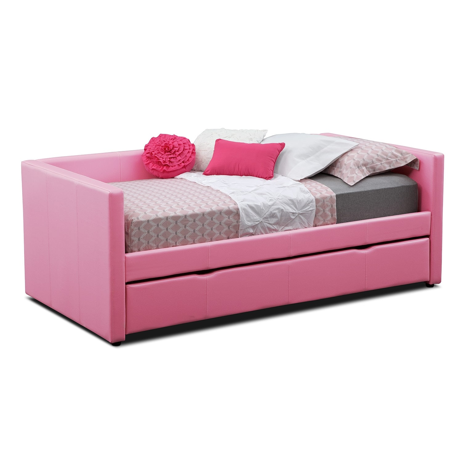 Kids Furniture - Carey Pink Twin Daybed with Trundle