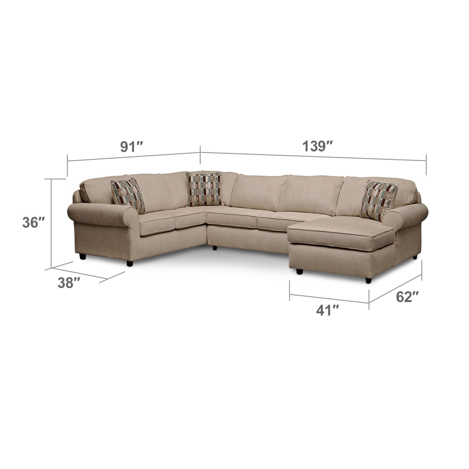Living Room Furniture - Monarch 3-Piece Right-Facing Sectional - Taupe
