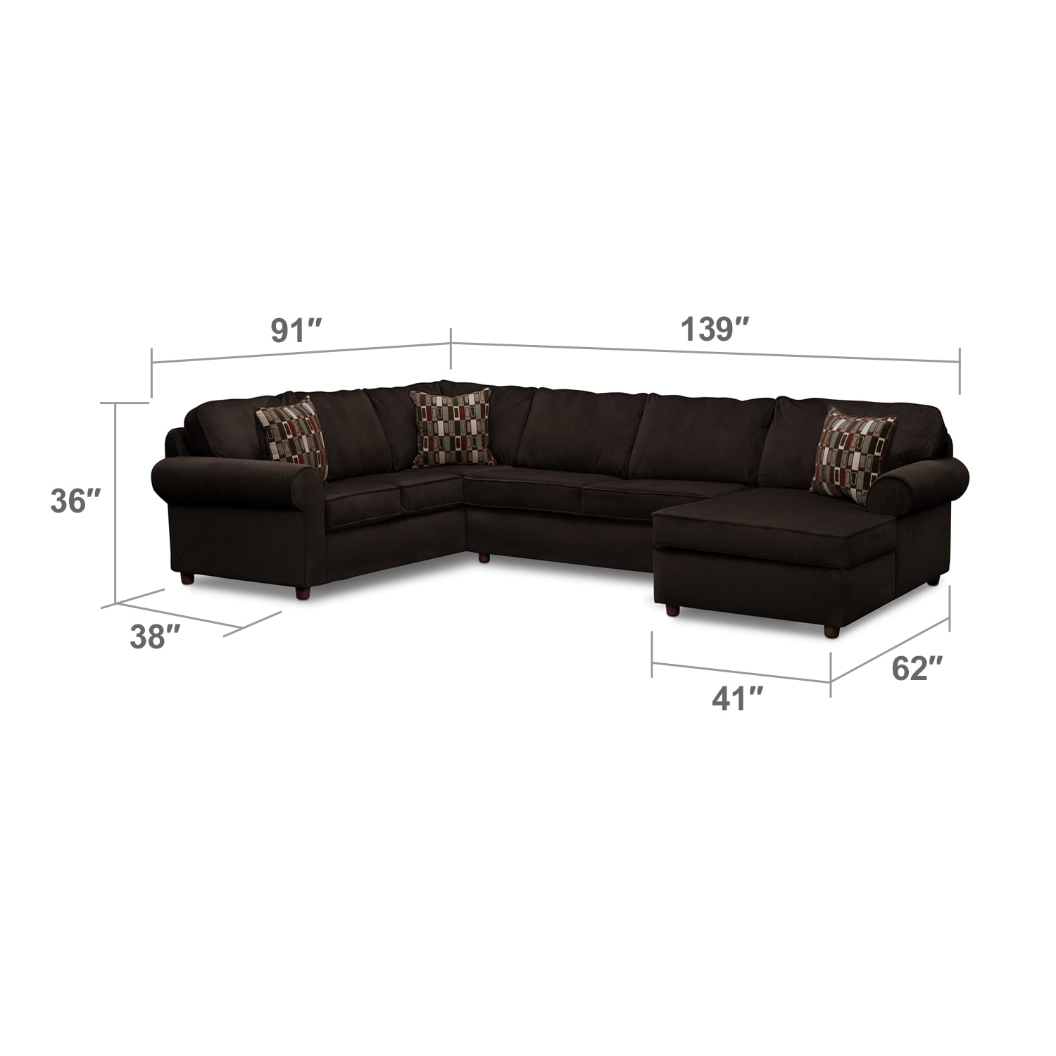 Living Room Furniture - Monarch 3-Piece Sectional - Chocolate