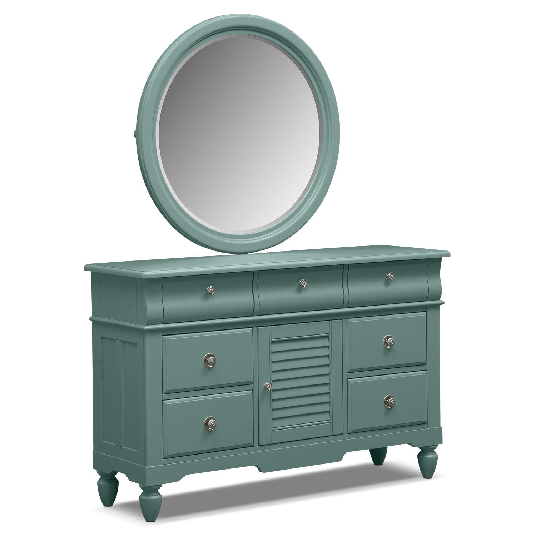 Seaside Blue Dresser & Mirror