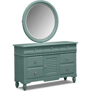 Seaside Dresser and Mirror - Blue