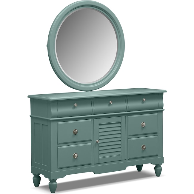 Kids Furniture - Seaside Dresser and Mirror - Blue