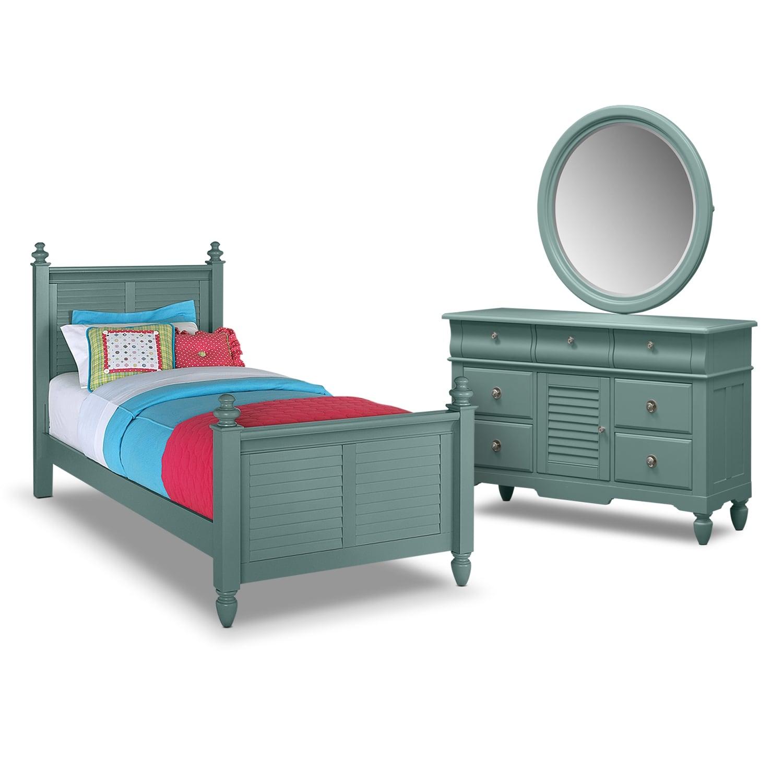 Seaside 5-Piece Full Bedroom Set- Blue