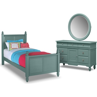 Seaside 5-Piece Full Bedroom Set- Blue