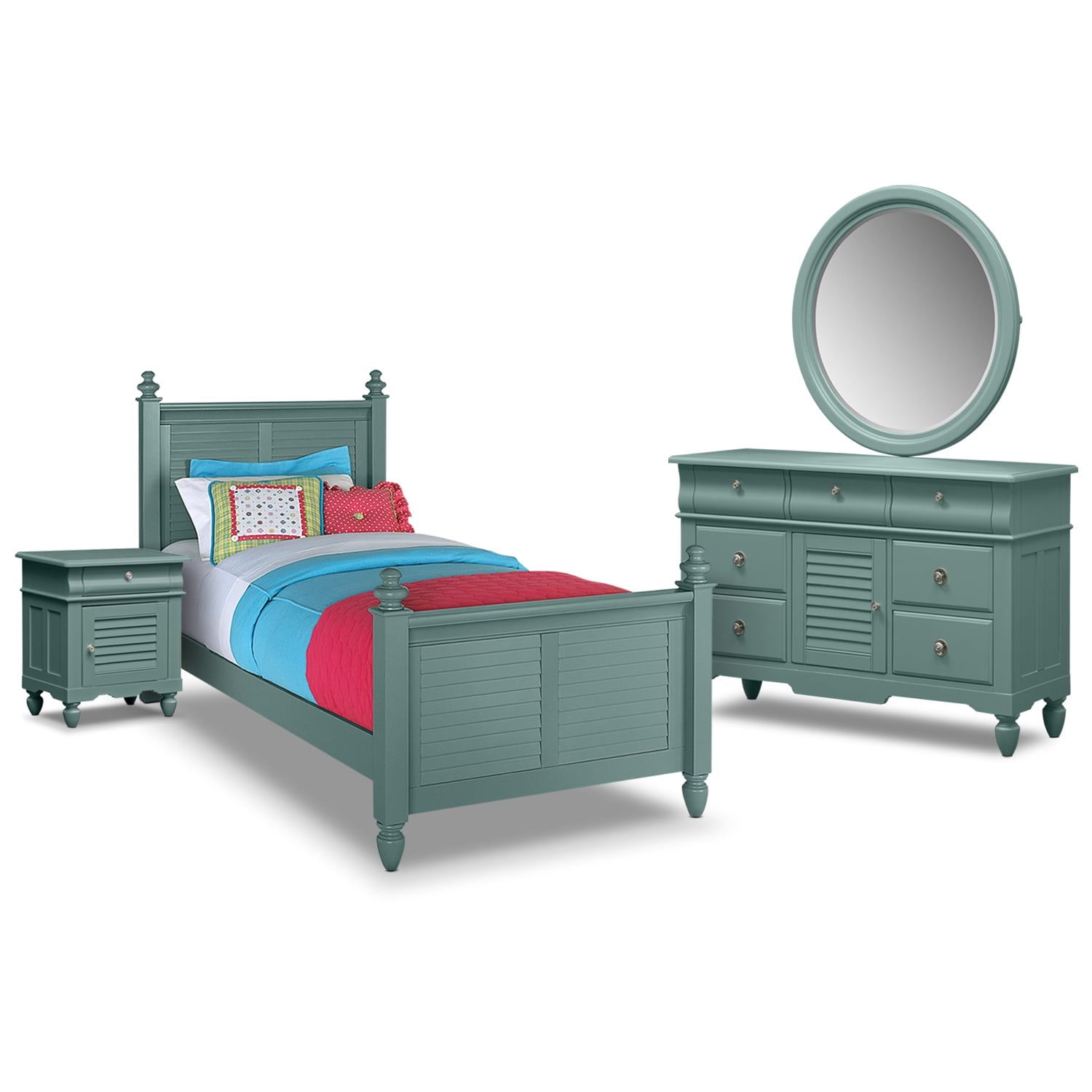 Kids Furniture - Seaside 6-Piece Full Bedroom Set - Blue