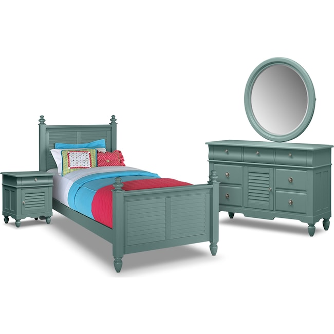 Kids Furniture - Seaside 6-Piece Twin Bedroom Set - Blue