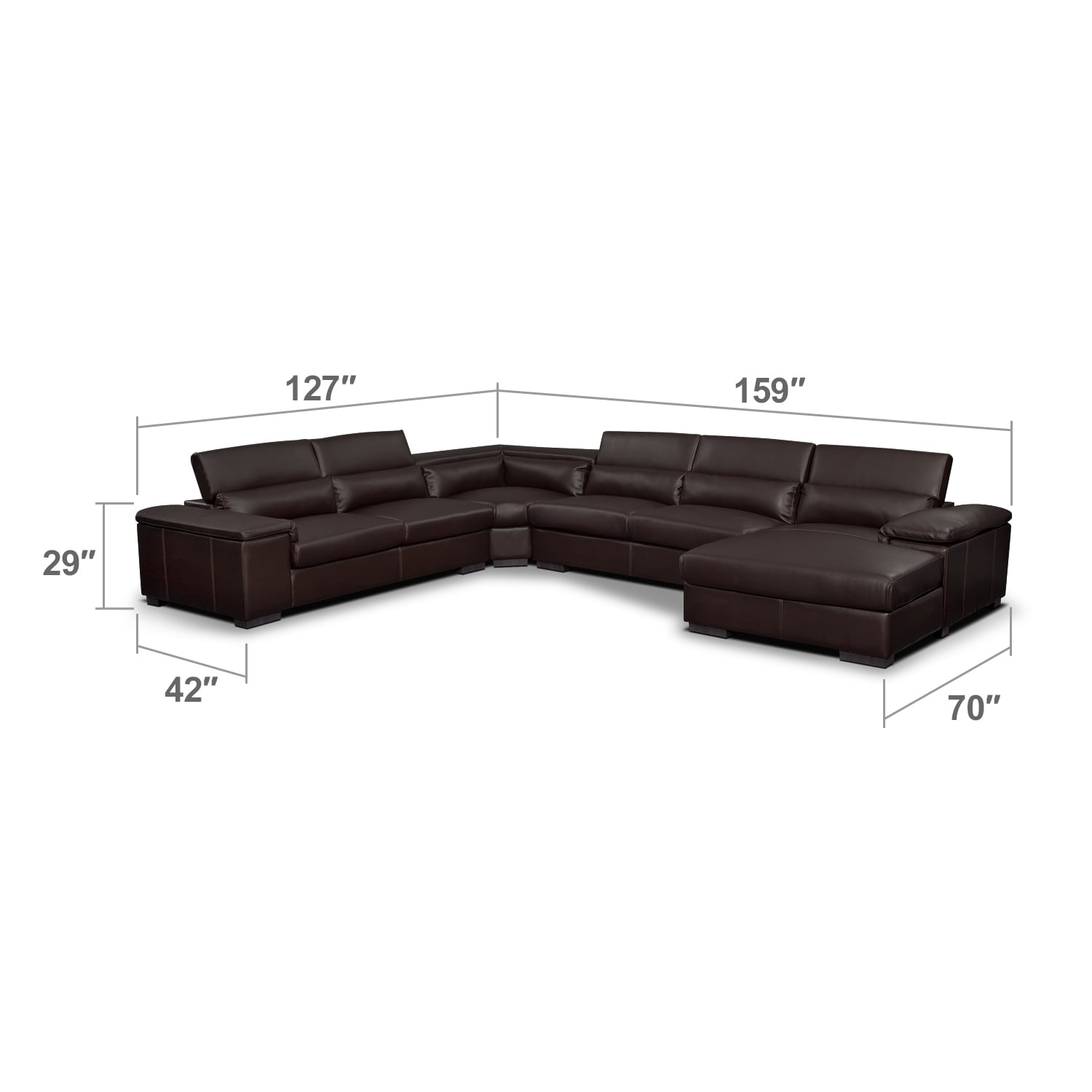 Living Room Furniture - Ventana 4-Piece Right-Facing Sectional - Godiva