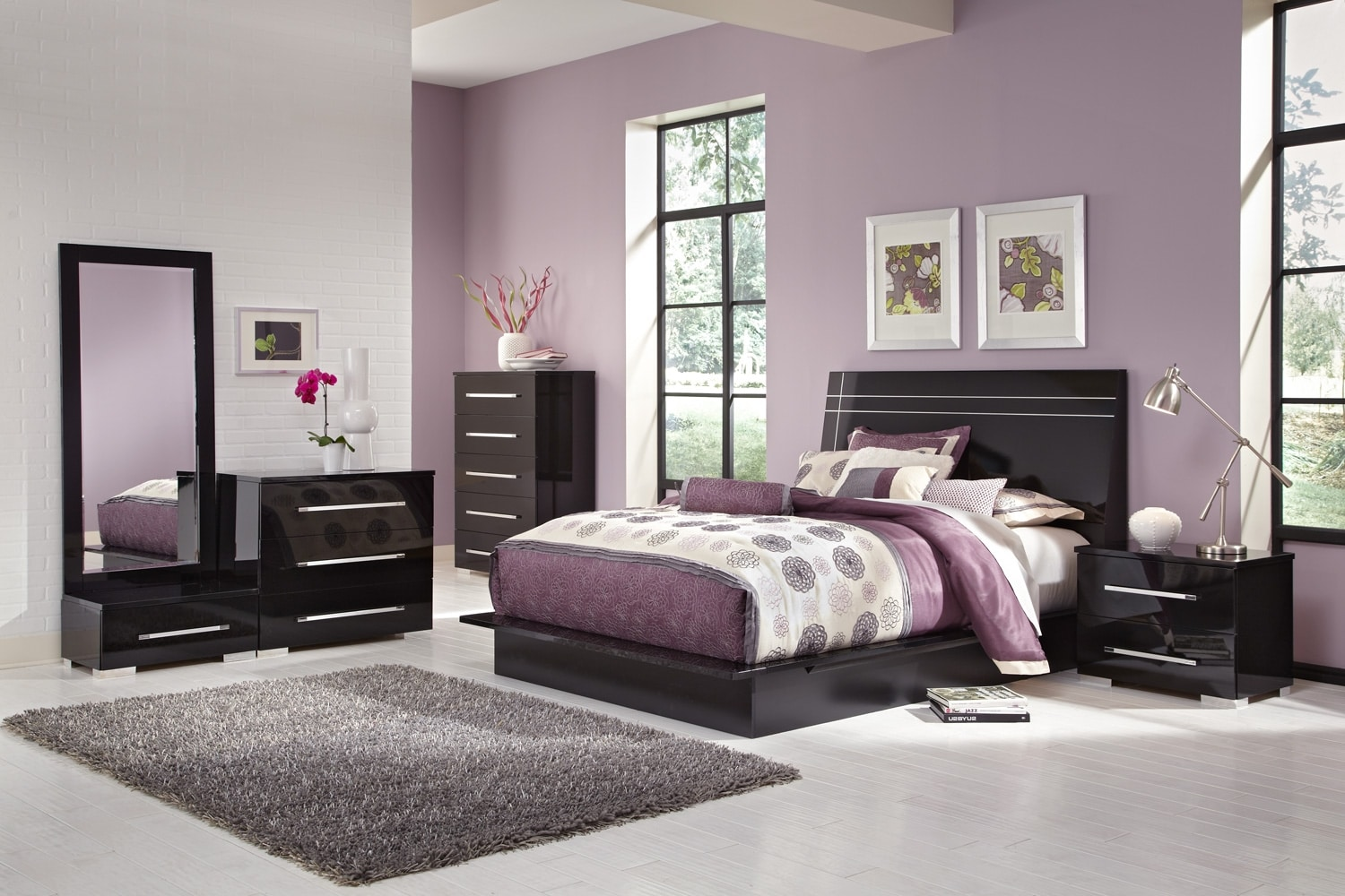 Dimora 7-Piece King Panel Bedroom Set - Black | American Signature ...