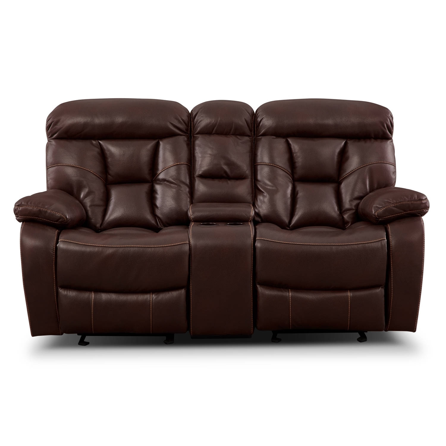 Click to change image.  sc 1 st  American Signature Furniture & Dakota Gliding Reclining Loveseat with Console - Java | American ... islam-shia.org