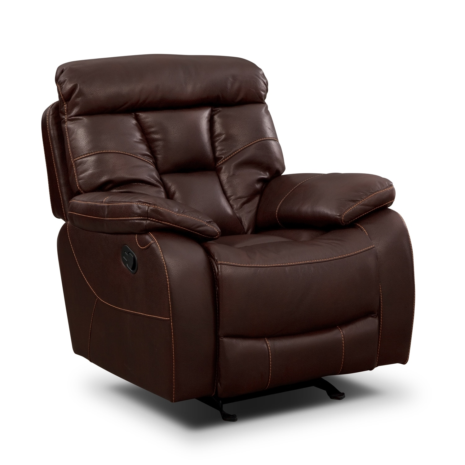 Dakota Reclining Sofa Glider Loveseat And Glider Recliner Set Java American Signature Furniture
