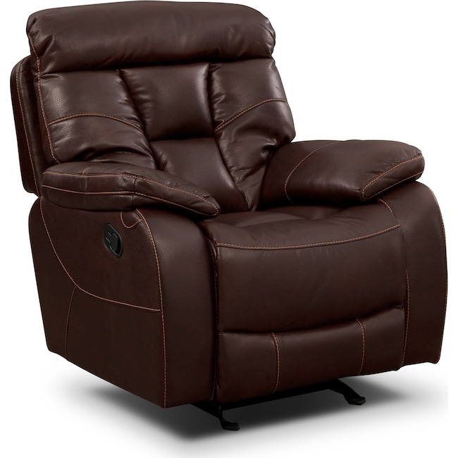 Living Room Furniture - Dakota Glider Recliner - Java