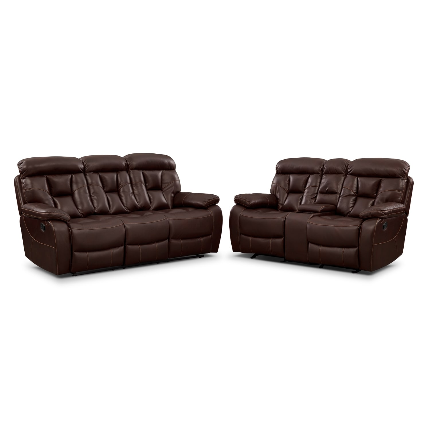 Living Room Furniture - Dakota Reclining Sofa and Gliding Loveseat Set - Java