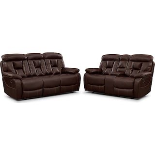 Dakota Reclining Sofa and Gliding Loveseat Set - Java