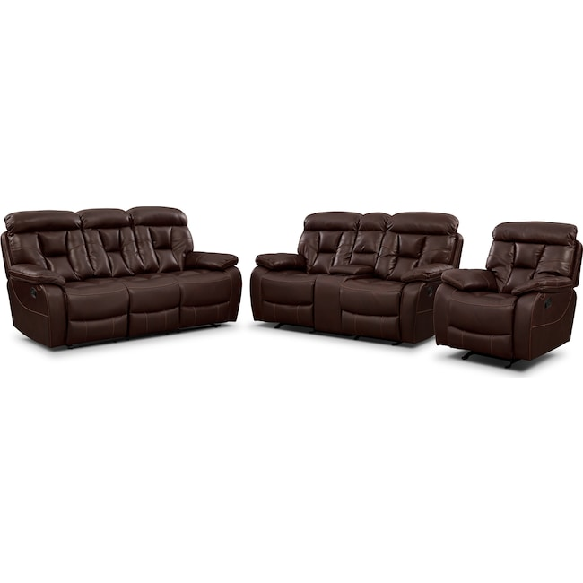 Living Room Furniture - Dakota Reclining Sofa, Glider Loveseat and Glider Recliner Set - Java