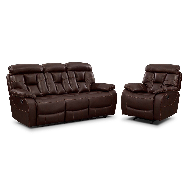 Dakota Reclining Sofa and Glider Recliner Set - Java  sc 1 st  American Signature Furniture & Dakota Gliding Reclining Loveseat with Console - Java | American ... islam-shia.org