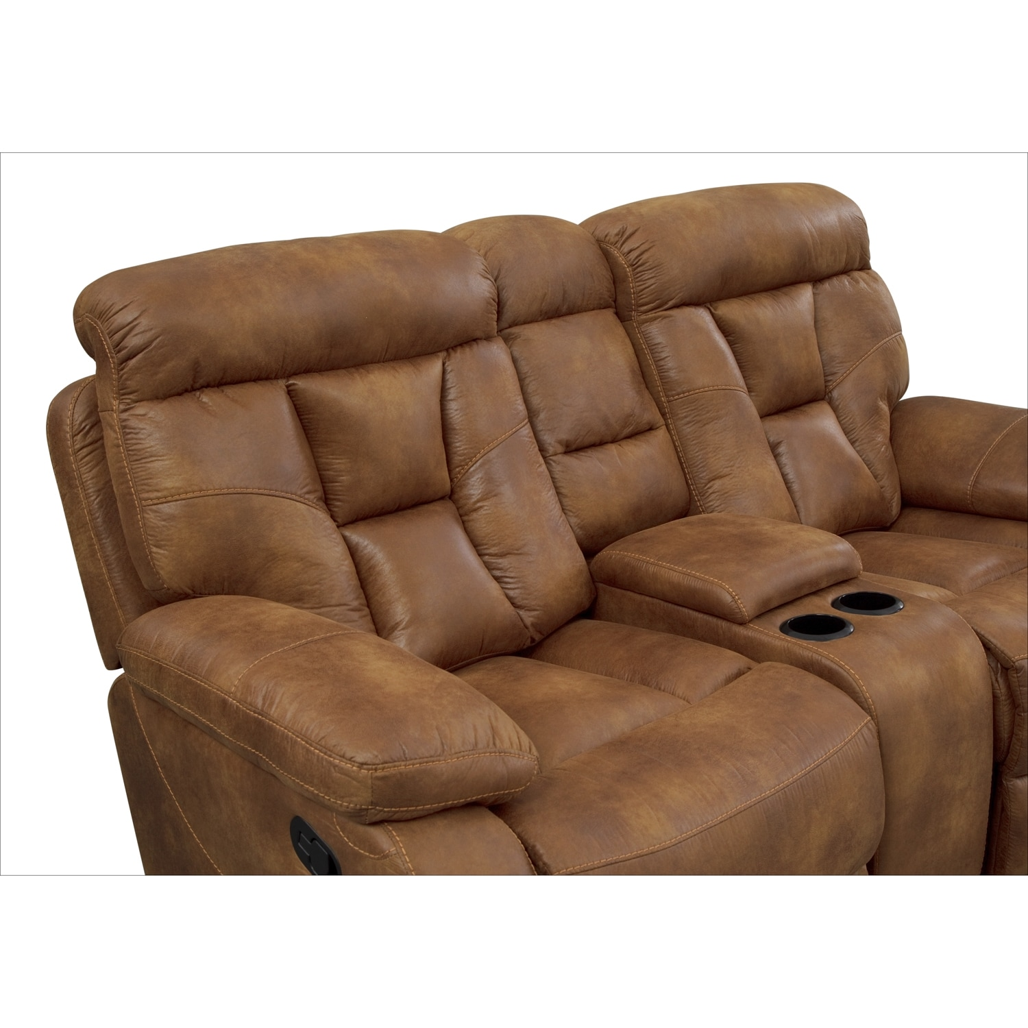 Dakota Gliding Reclining Loveseat With Console Almond American Signature Furniture