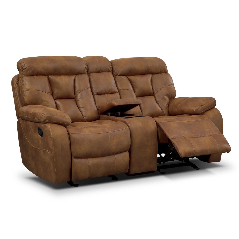 Dakota Gliding Reclining Loveseat With Console Almond American Signature Furniture