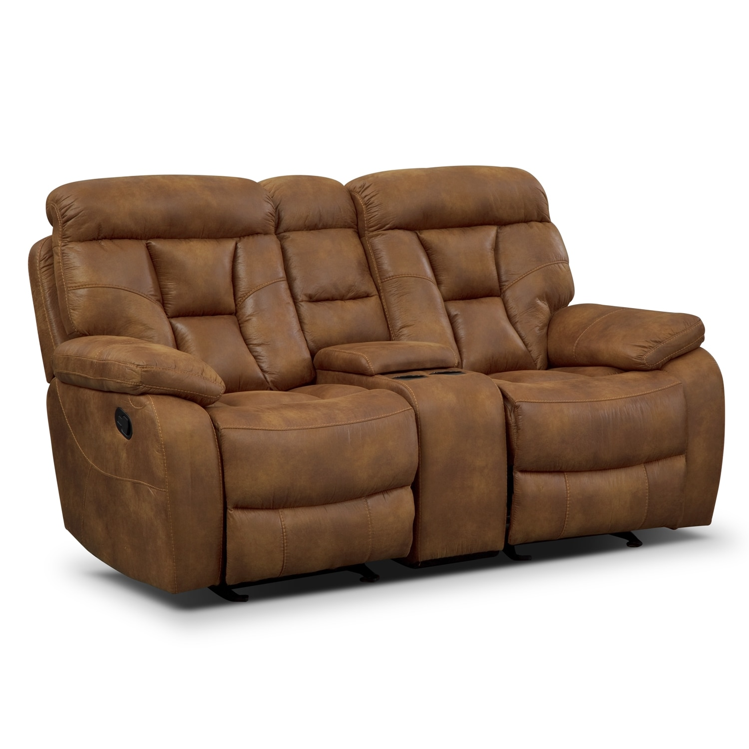 Living Room Furniture - Dakota Gliding Reclining Loveseat with Console - Almond