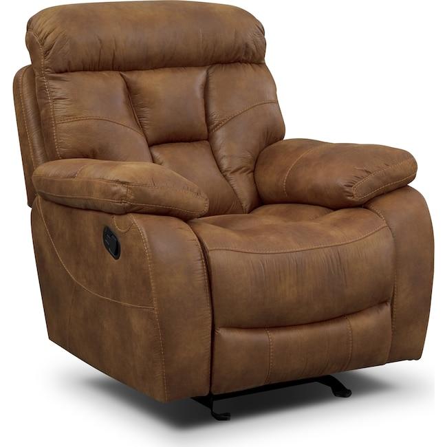 Living Room Furniture - Dakota Glider Recliner - Almond