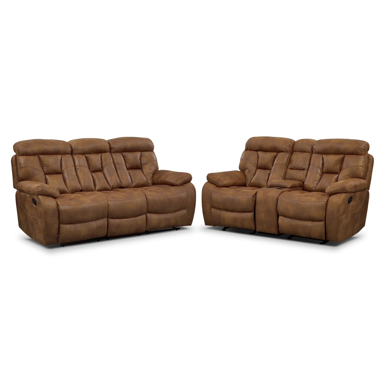 Dakota Reclining Sofa And Glider Loveseat Set Almond American Signature Furniture