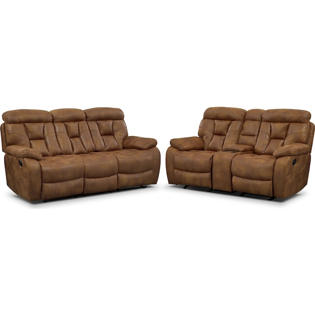 Living Room Furniture - Dakota Reclining Sofa and Glider Loveseat Set - Almond