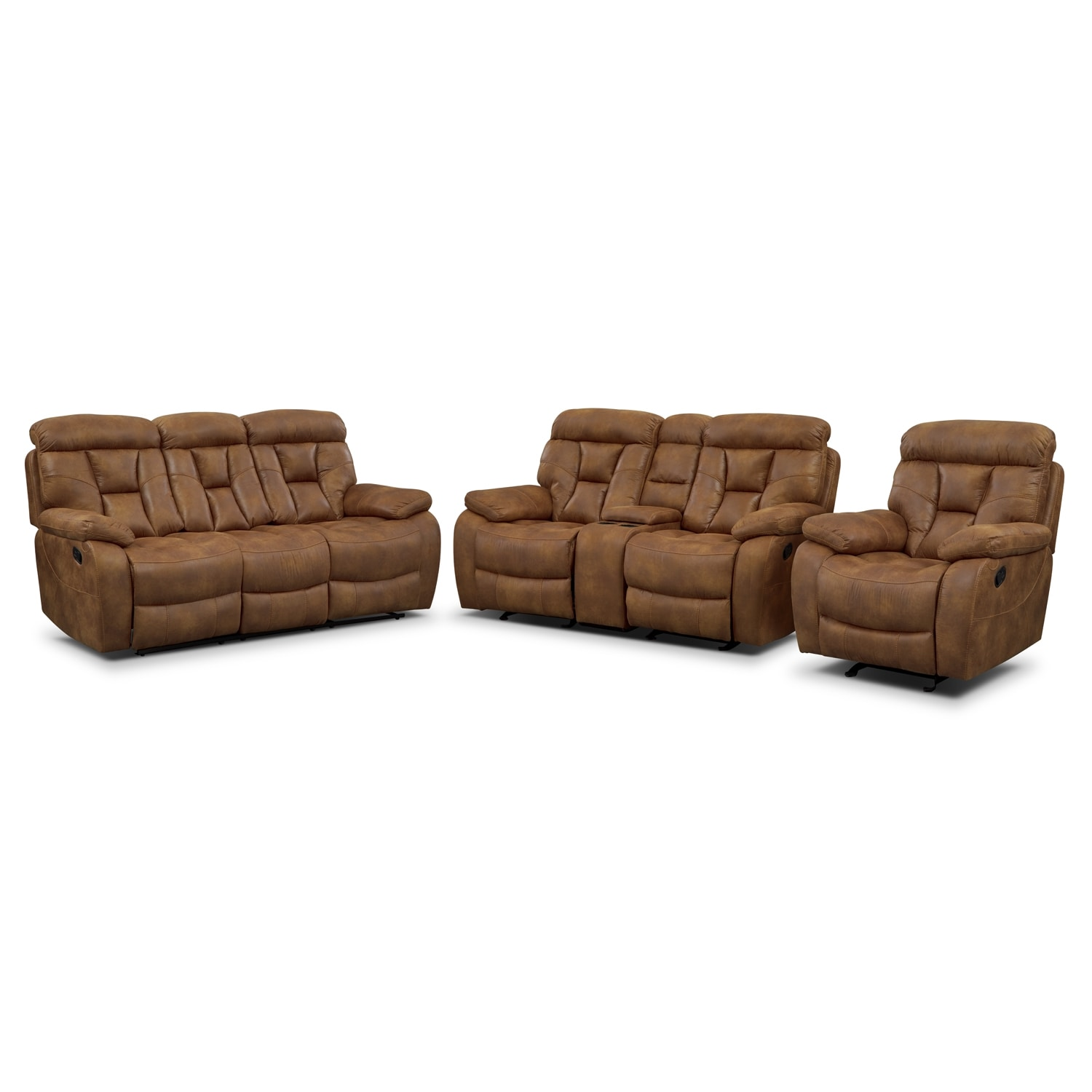 Dakota Reclining Sofa, Gliding Loveseat and Glider Recliner Set - Almond