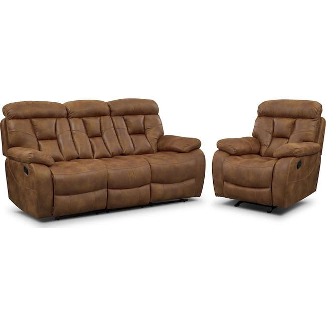 Living Room Furniture - Dakota Reclining Sofa and Glider Recliner Set - Almond