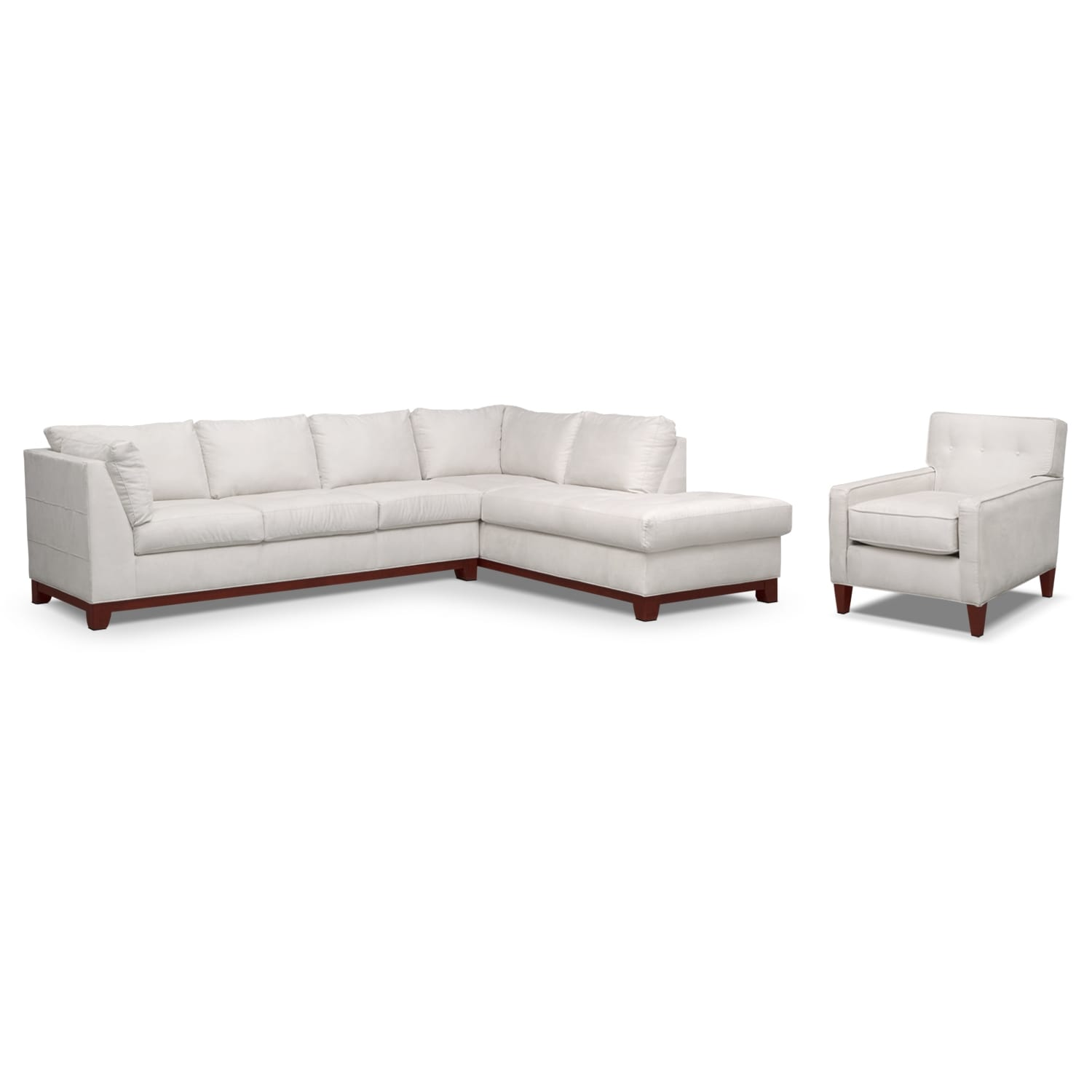 Living Room Furniture - Soho 2-Piece Sectional with Right-Facing Chaise and Chair - Cement