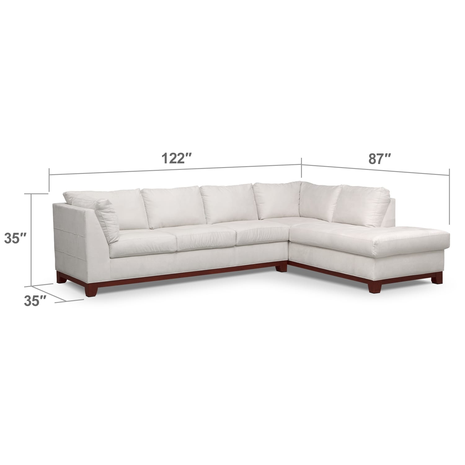 Living Room Furniture - Soho 2-Piece Sectional with Right-Facing Chaise - Cement