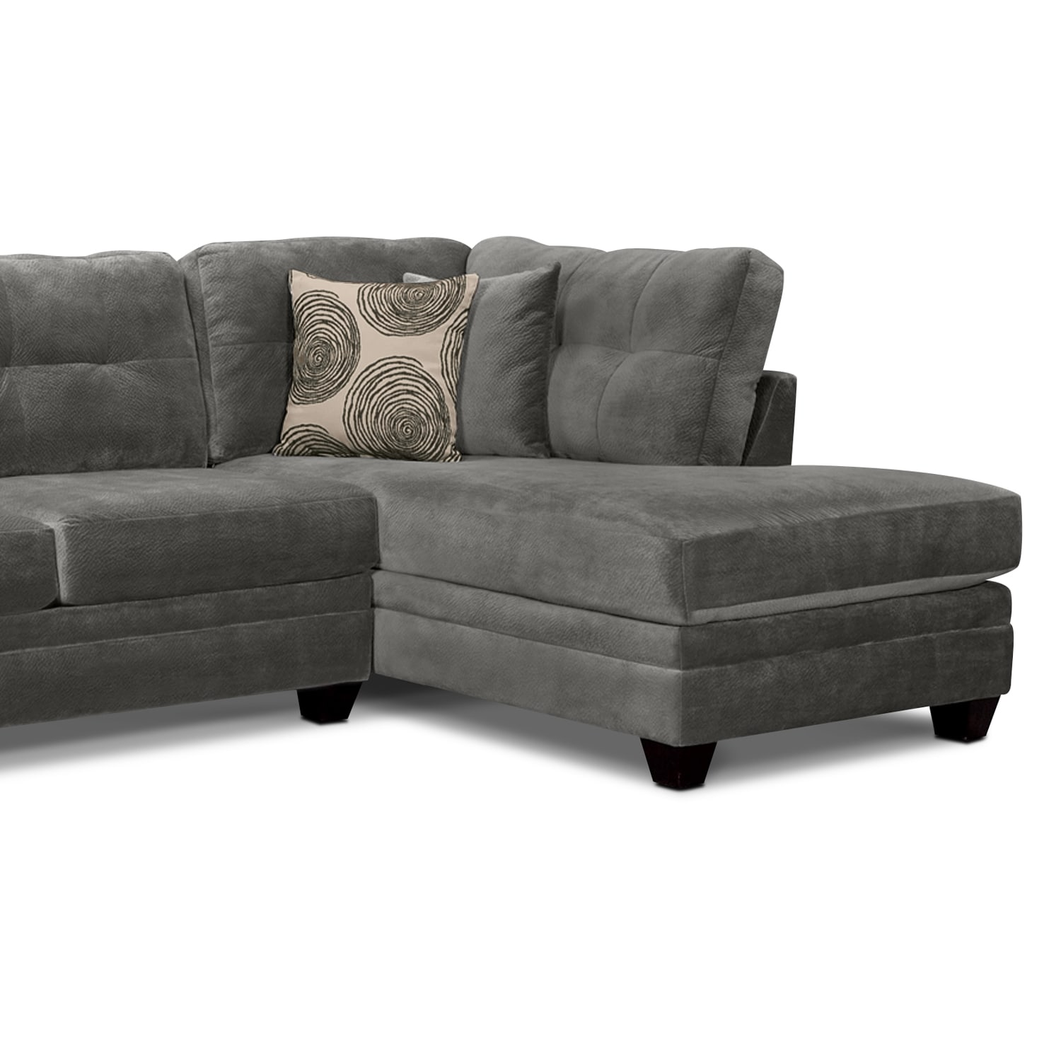 Cordelle 2 Piece Right Facing Chaise Sectional Gray American Signature Furniture