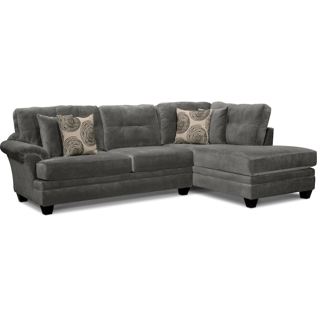 Living Room Furniture - Cordelle 2-Piece Sectional with Right-Facing Chaise - Gray