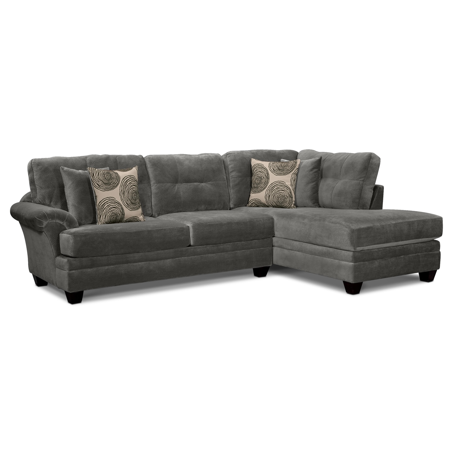 Living Room Furniture   Cordelle 2 Piece Right Facing Chaise Sectional    Gray