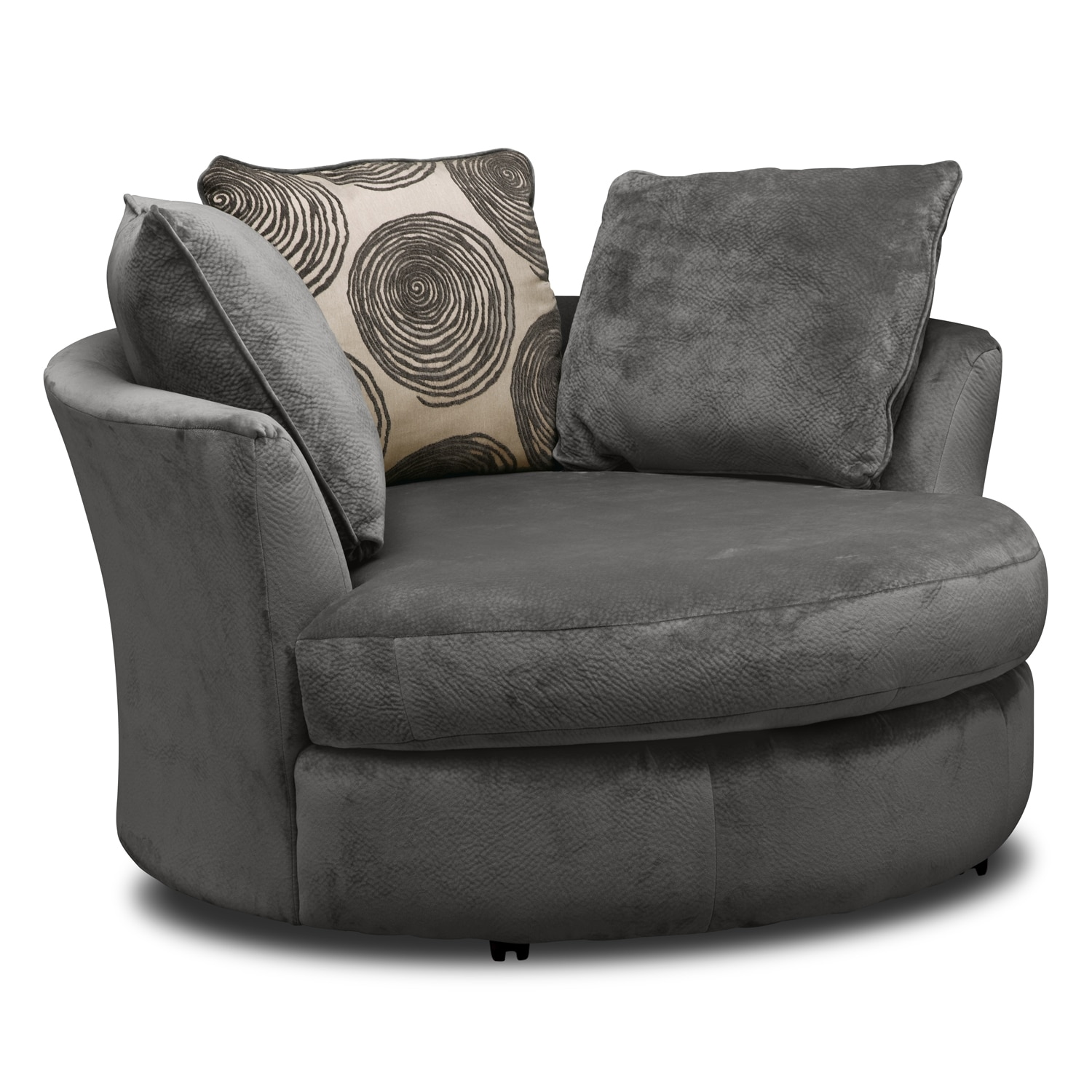 Cordelle 3 Piece Sectional And Swivel Chair Set Gray