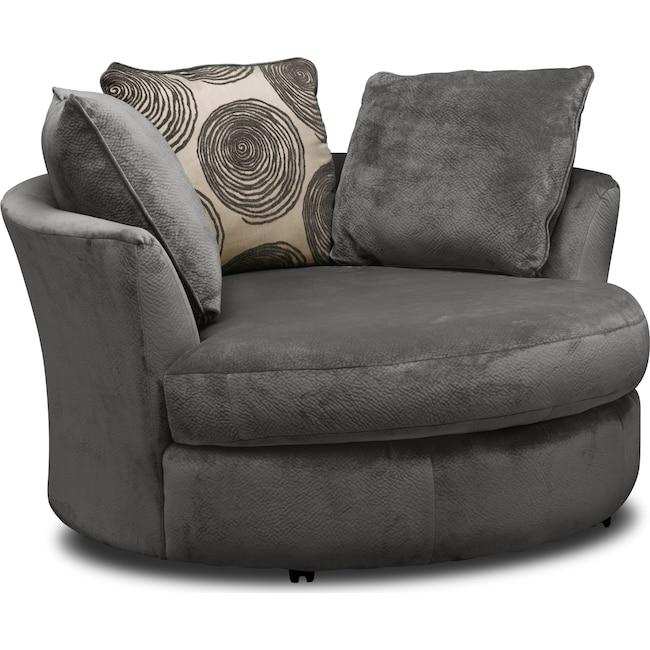 Living Room Furniture - Cordelle Swivel Chair - Gray
