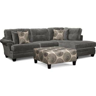 Cordelle 2-Piece Right-Facing Chaise Sectional and Cocktail Ottoman Set - Gray