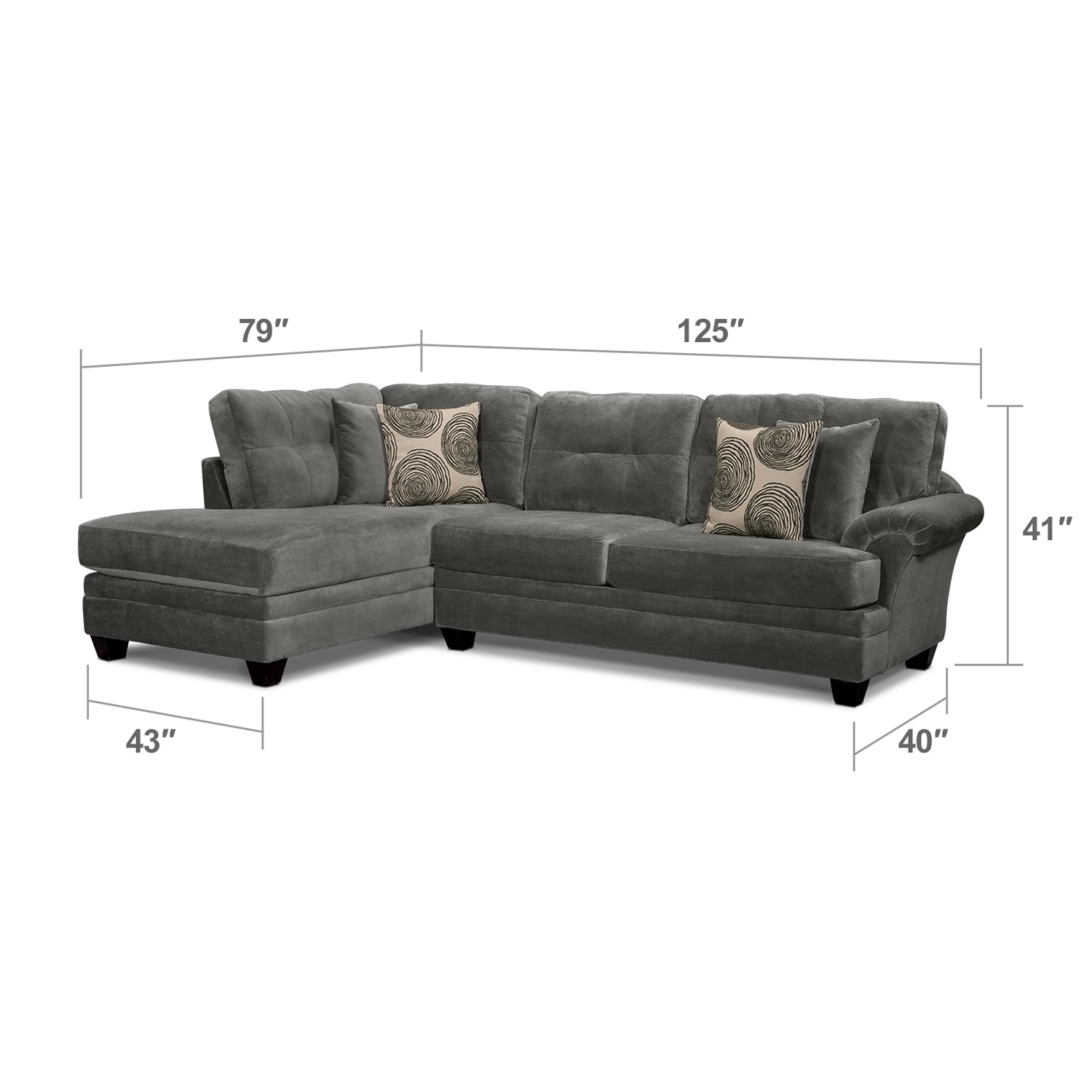 Cordelle 2 piece left facing chaise sectional gray for 2 piece chaise sectional