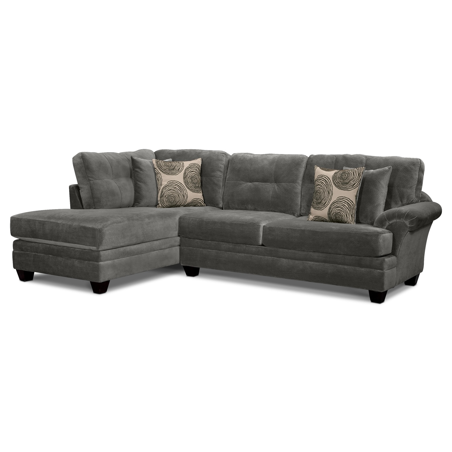 Cordelle 2-Piece Left-Facing Chaise Sectional - Gray by Factory Outlet  sc 1 st  American Signature Furniture : 2 piece chaise sectional - Sectionals, Sofas & Couches