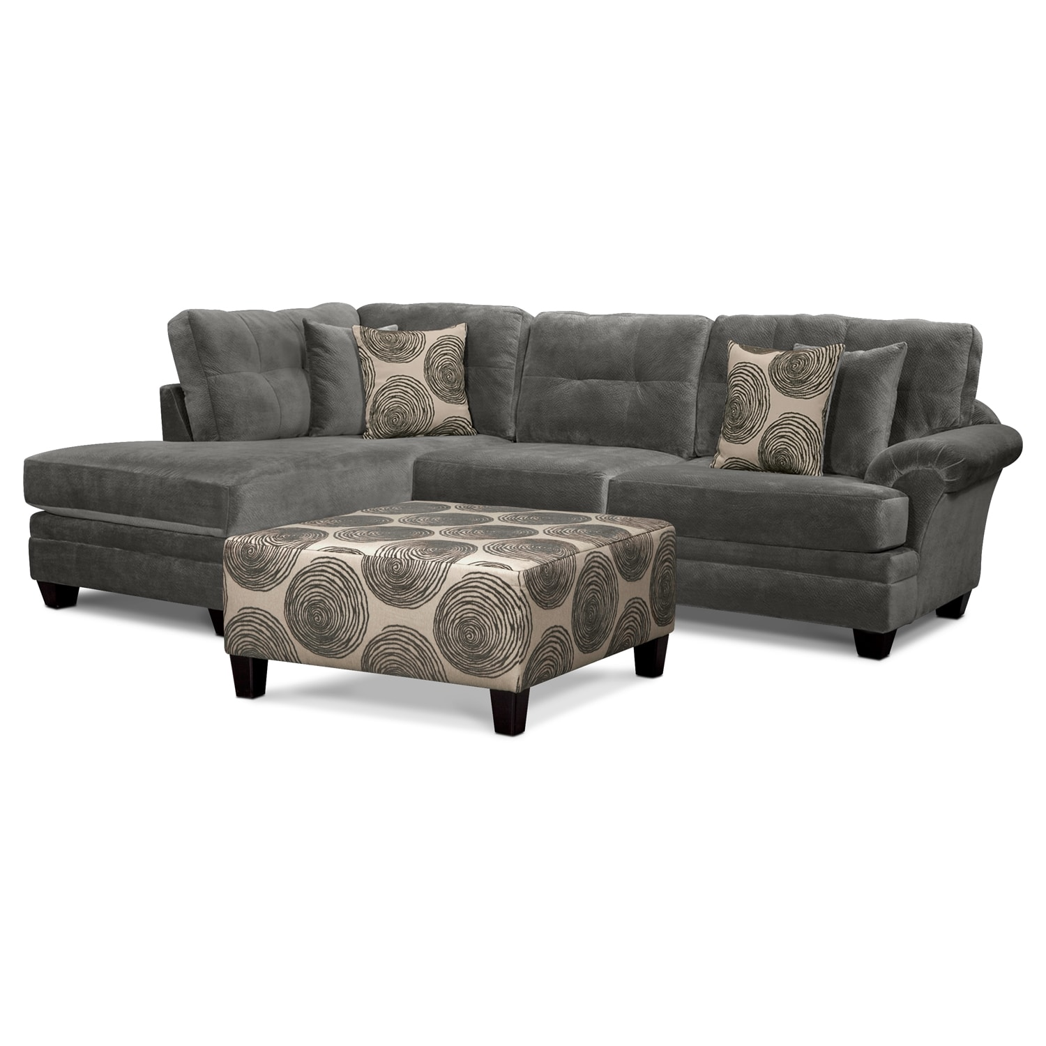Cordelle 2-Piece Left-Facing Chaise Sectional and Cocktail Ottoman Set - Gray