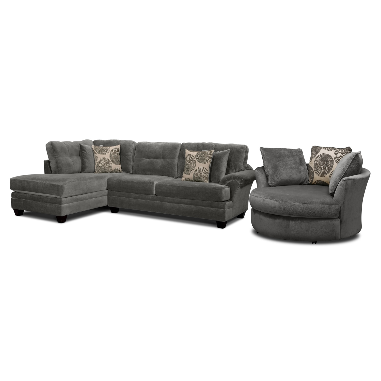 Cordelle 2-Piece Left-Facing Chaise Sectional and Swivel Chair Set - Gray