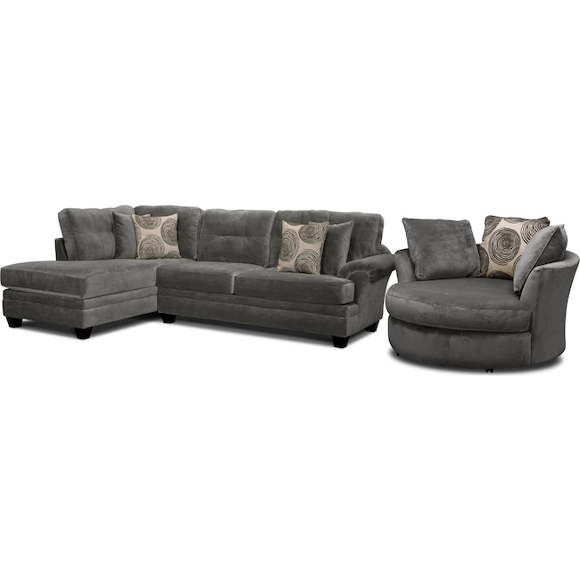 Living Room Furniture - Cordelle 2-Piece Left-Facing Chaise Sectional and Swivel Chair Set - Gray
