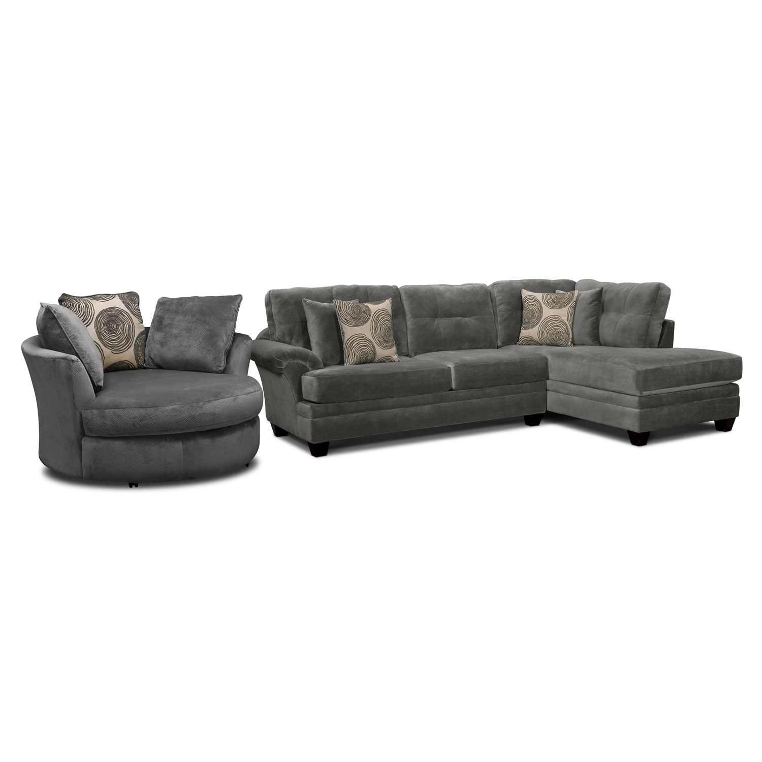 Ii 2 pc sectional and swivel chair american signature furniture - Cordelle 2 Piece Right Facing Chaise Sectional And Swivel Chair Set Gray