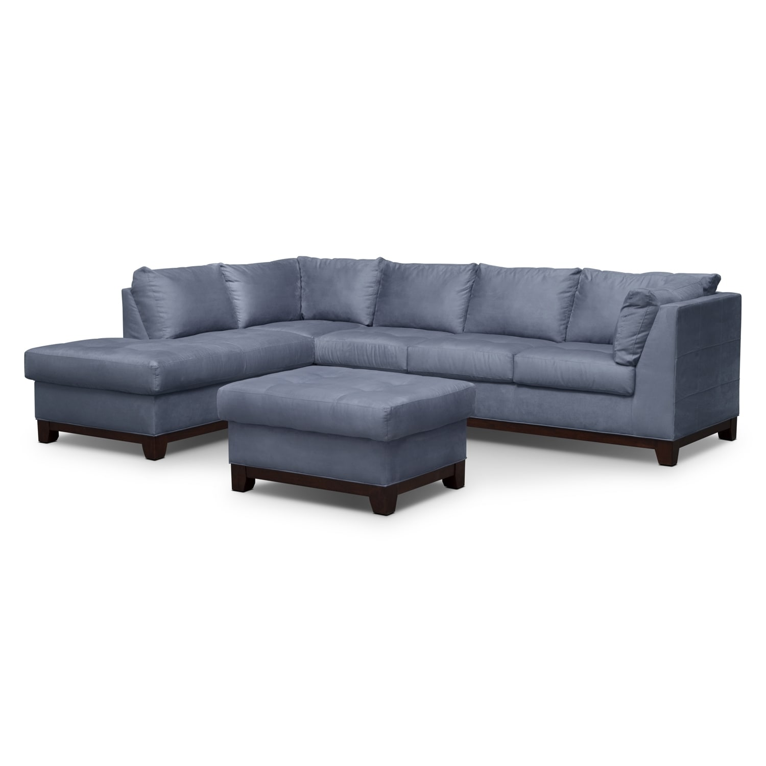 Soho 2-Piece Sectional with Left-Facing Chaise and Ottoman - Steel