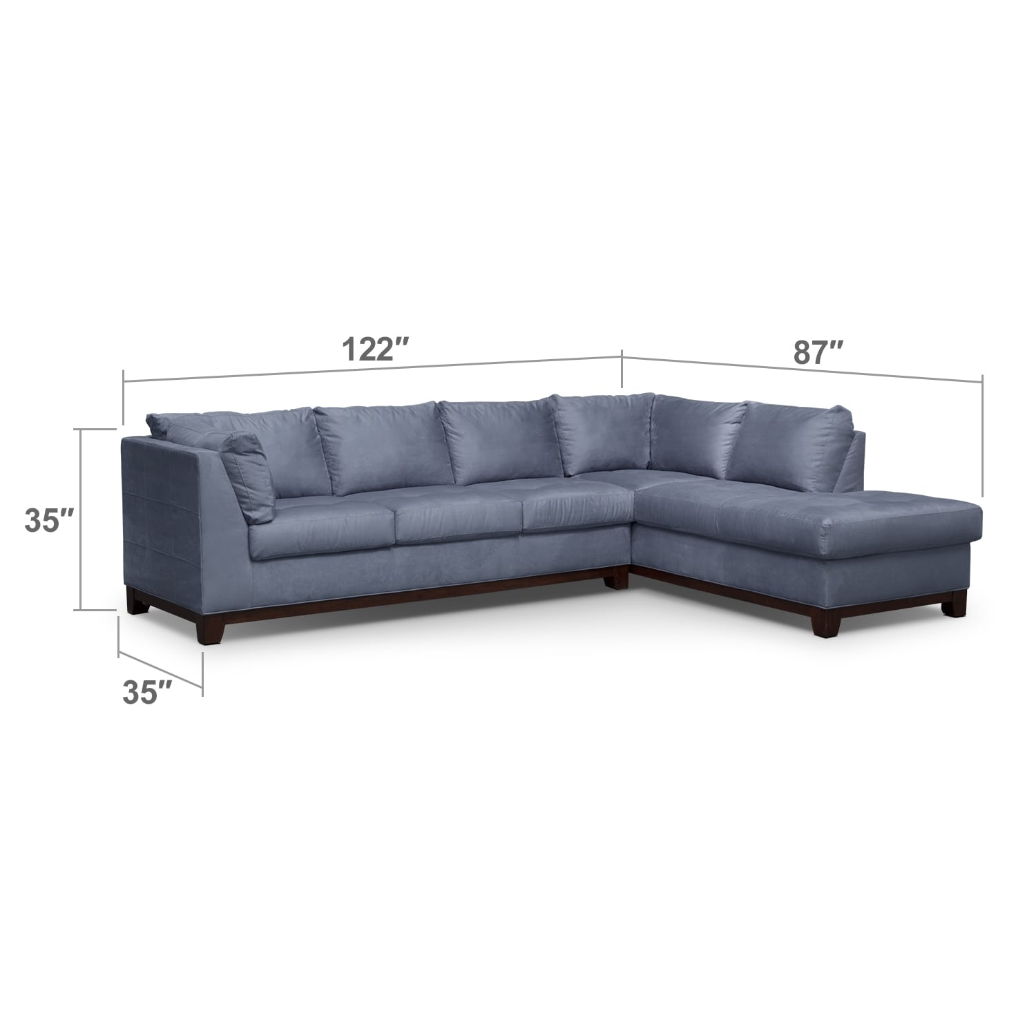 Living Room Furniture - Soho 2-Piece Sectional with Right-Facing Chaise - Steel